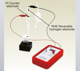 Aufbau Portabler Wasserstoffgenerator H2G1 mit der Reversiblen Wasserstoff Elektrode (RHE) in einer Messzelle
