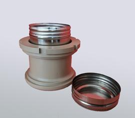 PEEK-Adapter mit Luftspalt zur Isolation und Schutz der Kugellager. 150ml Edelstahlbecher für Hochtemperaturanwendungen bis 130°C (mit Standard-O-Ring). width=