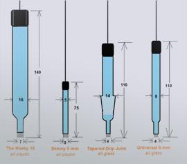 Husky (nicht erhältlich; 16mm), Skinny (5mm), NS14 (nicht erhältlich) und Universal (9mm) – Referenzelektroden-Typen