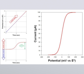 Eine graphische Auftragung des Stroms über einer Potentialänderung bei einem elektroanalytischen Experiment, bei dem das Potential zwischen zwei Grenzwerten hin und her bewegt wird