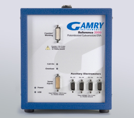 Gamry Reference 3000AE Potentiostat/Galvanostat/ZRA für Korrosion (DC), Impedanzspektroskopie (EIS), Physikalische Elektrochemie (PHE), Pulsvoltammetrie (PV), Elektrochemisches Rauschen (ESA) und für die Elektrochemische Energie (PWR) an Batterie-, Brennstoffzell- oder Superkondensator-Stapeln incl. schwebende Masse (galv. Trennung von der Schutzerdung) width=