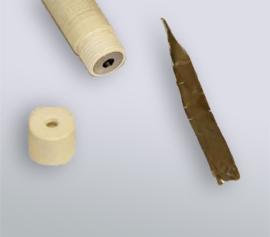"""Evaluierungsmesszelle für Batteriematerialien (LIB) incl. Halter mit vier Normschliffen (NS14/20) für 25 ml Zellvolumen; """"Foil electrode holder (small) – 935-00084"""" für Folienproben vor dem Einbau in Einzelteilen"""