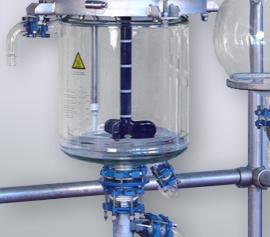 Doppelwand-Glasgefäß mit emailliertem Rührer im Edelstahlgestell – FDA Zertifikat für alle Bauteile