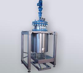 Doppelwand-Reaktor (Stahl-emailliert) mit emailliertem Rührer im Edelstahlgestell – FDA Zertifikat für alle Bauteile