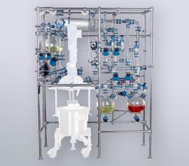 Glasbauteile (Glasaufbau) für Zutropfen, Destillieren, Rektifizieren mit Glashaube, Dichtungen inkl. FDA Zertifikat, Rührwerk explosionsgeschützt