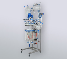 Glasgefäß im Gestell mit Absenkvorrichtung – FDA Zertifikat für alle Bauteile