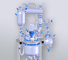Glasreaktor mit massivem beschichteten Deckel und komplettem Glasaufbau für Reflux und Destillation
