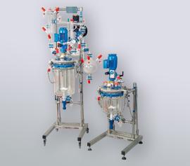 Glasrührapparat 2 – 15 Liter mit Destillationsaufbau und Ex geschütztem Motor width=