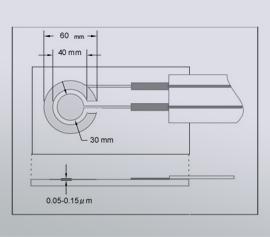 Aufbau der lithographische Ring Disk Elektrode mit Gold, Platin, Carbon Ring-Disk