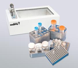 Zellaufschluss-Mühle SPEX 2010 Geno/Grinder® – Kryo-Adapter aus Aluminium für die Aufnahme unterschiedlich großer Einzel-Tubes mit Kryo-Station zum Vorkühlen der fertig bestückten Adapter in flüssigem Stickstoff