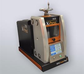 Vollautomatische SPEX Presse 3636 X-Press® mit geschlossener Sicherheitstür, betriebsbereit width=