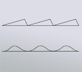 Schematische Darstellung von geritztem Gitter (oben) und holographischem Gitter (unten)