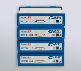 Gamry Interface 1010 4-Kanalpotentiostat für die Applikationen Korrosion, galvanische Beschichtungen (DC), elektrochemische Energiespeicherung und -umwandlung (PWR) sowie Halbleiter, Solarzellen und Sensoren (EIS) incl. schwebende Masse (galv. Trennung von der Schutzerdung)